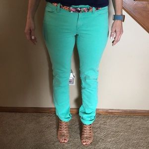 Ann Taylor modern for jeans in vibrant mint green